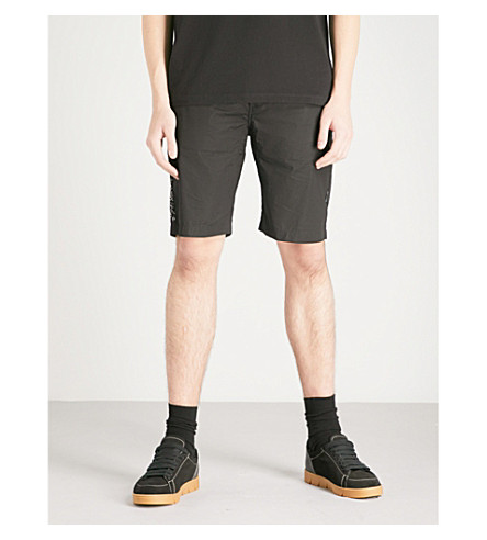 MAHARISHI Tiger-embroidered cotton-poplin shorts (Black
