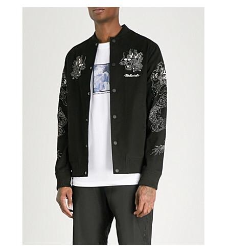 MAHARISHI Embroidered stretch-cotton bomber jacket (Black