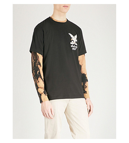 MAHARISHI Eagle-embroidered cotton-jersey T-shirt (Black