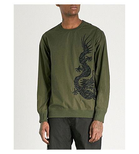 MAHARISHI Embroidered cotton-poplin sweatshirt (Mil+olive