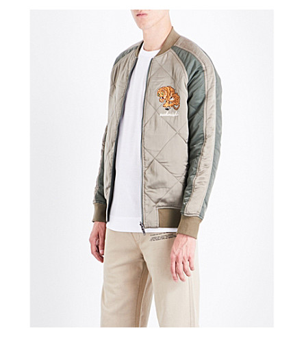 MAHARISHI Reversible embroidered silk-satin and shell bomber jacket (Olive