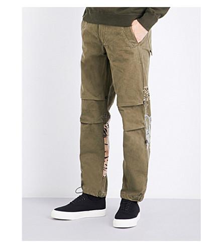 MAHARISHI Tiger-print cotton trousers (Maha+olive