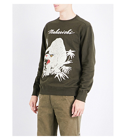 MAHARISHI Tiger-embroidered cotton-jersey sweatshirt (Dark+olive