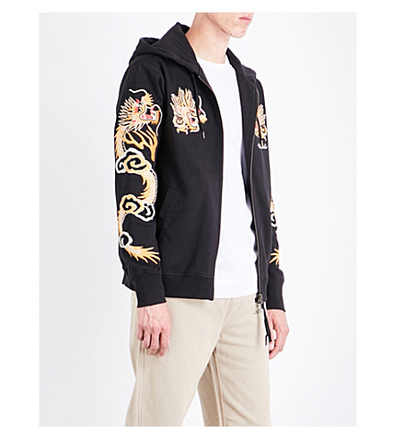 MAHARISHI Dragon-embroidered cotton-jersey hoody (Black
