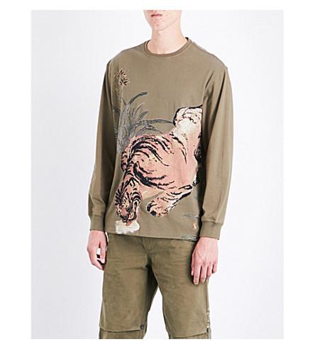 MAHARISHI Tiger jungle-print cotton-jersey T-shirt (Maha+olive
