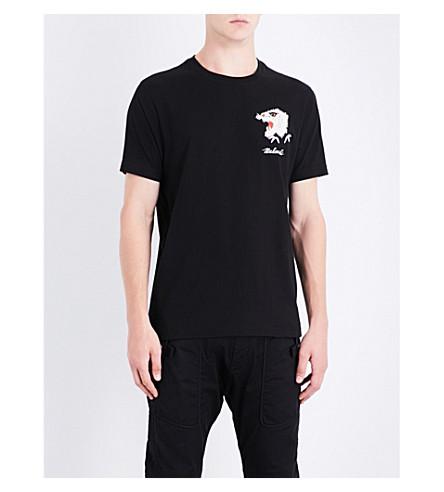 MAHARISHI Tiger-embroidered cotton-jersey T-shirt (Black