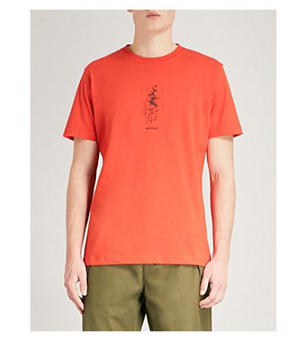 MAHARISHI Bamboo-print cotton-jersey T-shirt (Blaize+orange