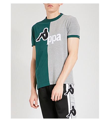 KAPPA KONTROLL Logo-flocked contrast-panel cotton-blend T-shirt (Green/grey