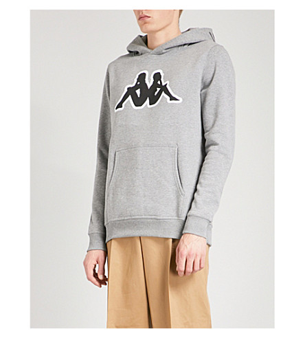 KAPPA KONTROLL Logo-embroidered cotton-blend hoody (Grey