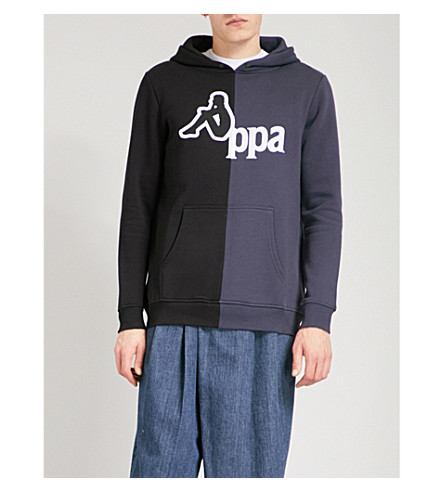 KAPPA KONTROLL Logo-flocked contrast-panel cotton-blend hoody (Blue/black