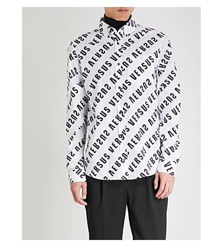 VERSACE VERSUS Logo-print regular-fit cotton shirt (White+stampa