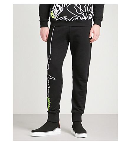 VERSACE VERSUS Pulse-print cotton-jersey jogging bottoms (Black+print