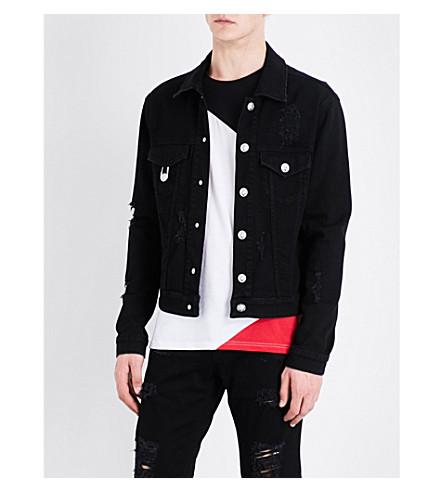 VERSACE VERSUS Distressed stretch-denim jacket (Black