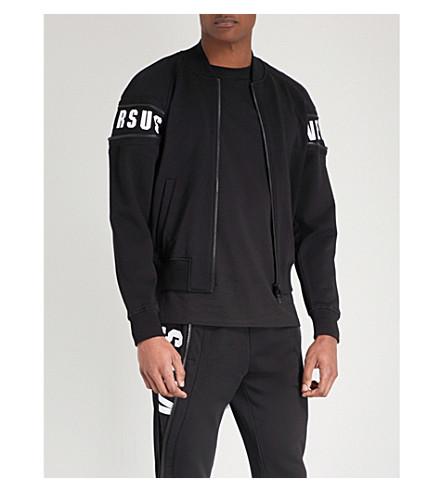 VERSACE VERSUS Zip-embellished cotton-jersey bomber jacket (Black++print