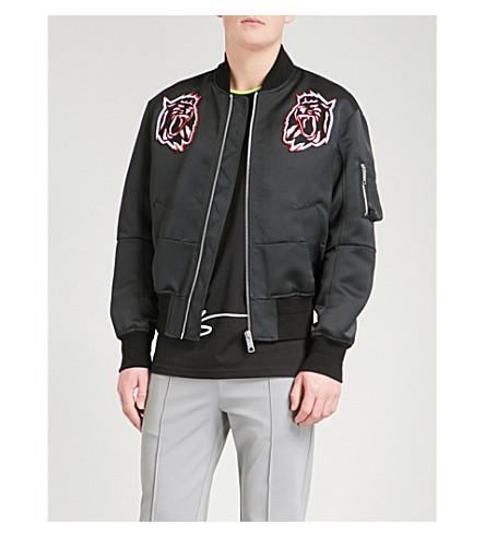 VERSACE VERSUS Lion patch satin bomber jacket (Black
