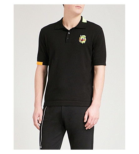VERSACE VERSUS Lion patch cotton polo shirt (Black+fluo