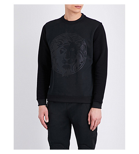 VERSACE VERSUS Lion-embossed cotton-jersey sweatshirt (Black+stampa