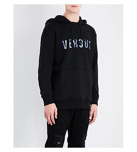 VERSACE VERSUS Logo-embroidered cotton hoody (Black