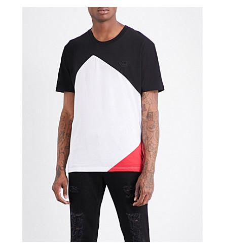 VERSACE VERSUS Colour-block cotton T-shirt (Black+white+red