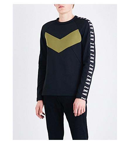 VERSACE VERSUS Versus x Zayn chevron-detail jersey sweatshirt (Black+military+green