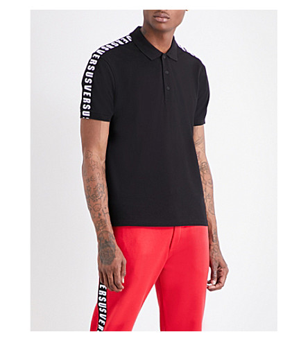 VERSACE VERSUS Logo-print cotton polo shirt (Black