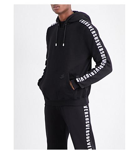 VERSACE VERSUS Logo-print cotton hoody (Black