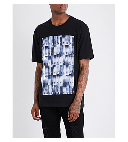 VERSACE VERSUS Safety pin-print cotton T-shirt (Black