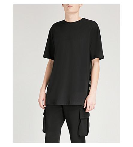 VERSACE VERSUS Mesh-panelled cotton-jersey T-shirt (Black++print