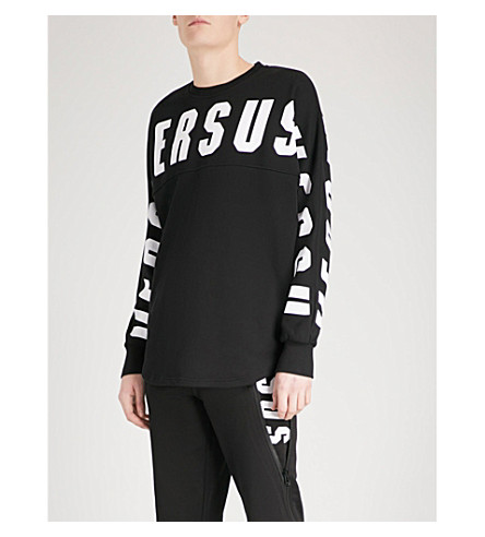 VERSACE VERSUS Logo-print cotton-jersey sweatshirt (Black++print
