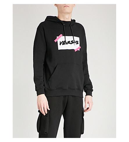 VERSACE VERSUS Metallic logo print cotton-jersey hoody (Black+print