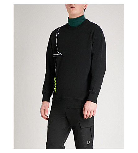 VERSACE VERSUS Pulse-print cotton-jersey sweatshirt (Black+print