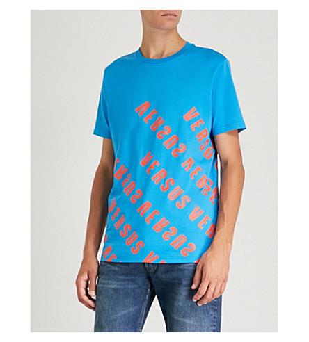VERSACE VERSUS Diagonal-logo cotton-jersey T-shirt (Turchese