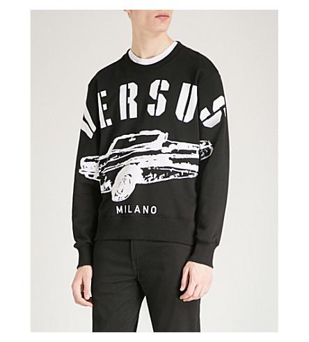 VERSACE VERSUS Logo-print cotton-jersey sweatshirt (Black