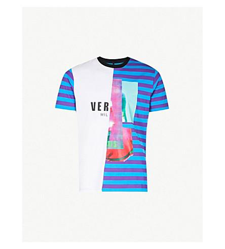 VERSACE VERSUS Contrasting striped cotton-jersey T-shirt (Viola+turchese