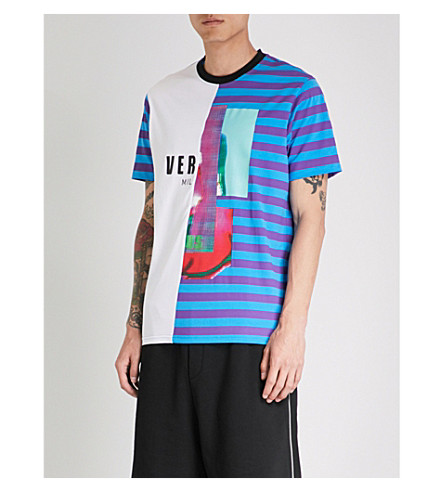 VERSACE VERSUS Contrasting striped cotton-jersey T-shirt (Viola+turchese