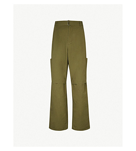 AMBUSH Panelled relaxed-fit straight cotton and linen-blend trousers (Olive