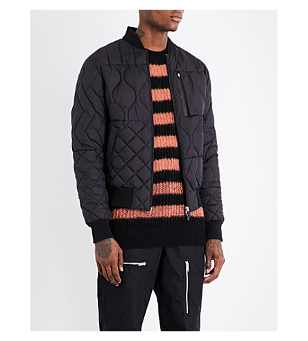 RAEBURN X SAVE THE DUCK Christopher Raeburn x Save the Duck quilted bomber jacket (Black
