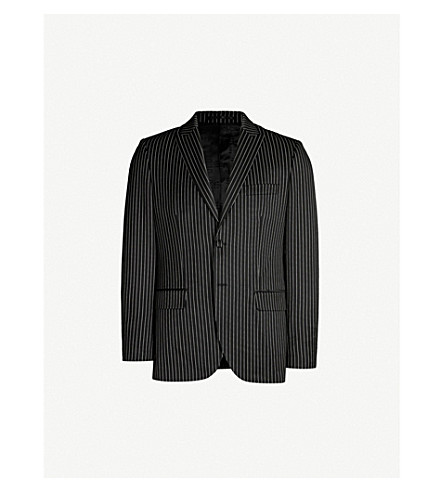 SSS WORLD CORP Daniel slim-fit pinstriped woven blazer (Black