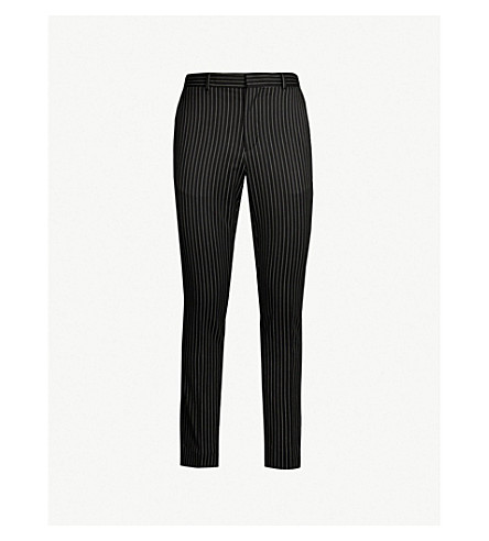 SSS WORLD CORP Daniel pinstriped mid-rise straight trousers (Black