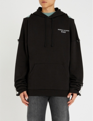 MIDNIGHT STUDIOS Buckle-Embellished Cotton-Jersey Hoody in Black