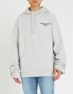 MIDNIGHT STUDIOS Buckle-Embellished Cotton-Jersey Hoody in Heather Grey