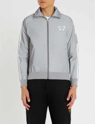 MIDNIGHT STUDIOS Reflective Logo-Print Shell Jacket in Grey