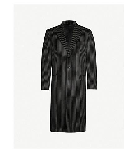SSS WORLD CORP Pinstriped woven coat (Black