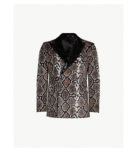 SSS WORLD CORP Snake-print sequin-embellished velvet blazer (Black