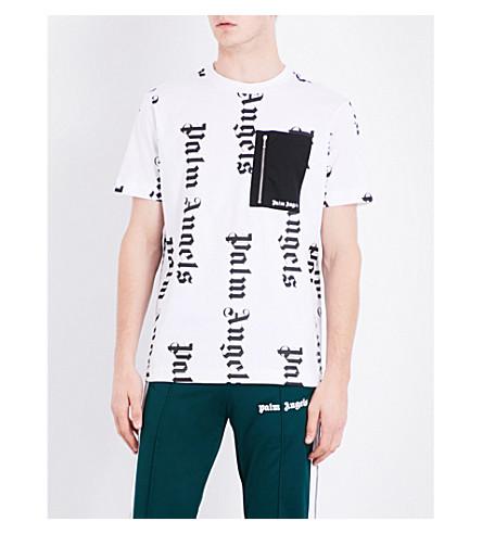 PALM ANGELS Logo-print cotton T-shirt (White+silver