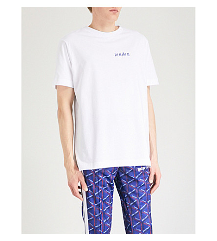 PALM ANGELS London cotton T-shirt (Blue+multi