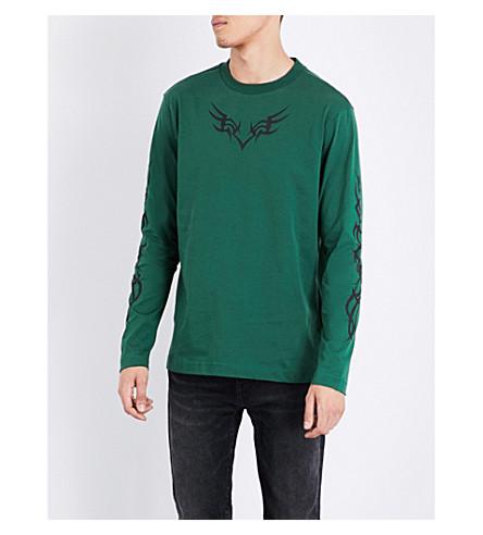 PALM ANGELS Tribal-print cotton-jersey top (Dark+green