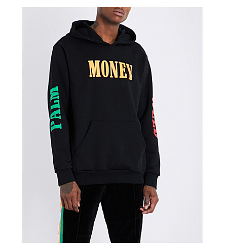 PALM ANGELS Palm Money Weed cotton hoody (Black+multicolour