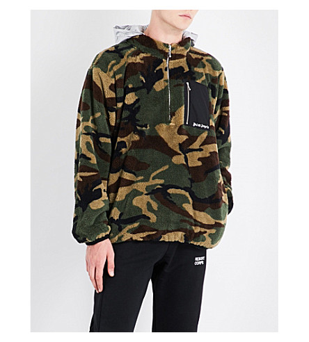 PALM ANGELS Camouflage-print fleeced hoody (Silver