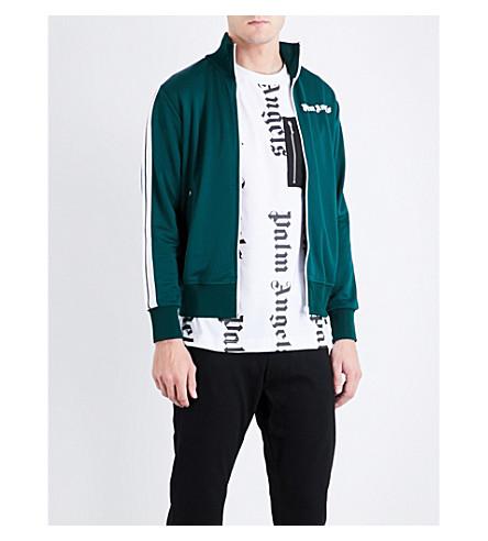 PALM ANGELS Logo-print jersey track jacket (Green+white